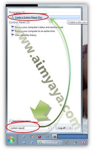 Gambar: Menjalankan aplikasi pembuat CD/DVD perbaikan sistem (repair)
