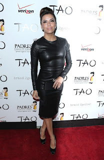 Eva Longoria looks hot in a leather outfit on the red carpet in TAO Las Vegas