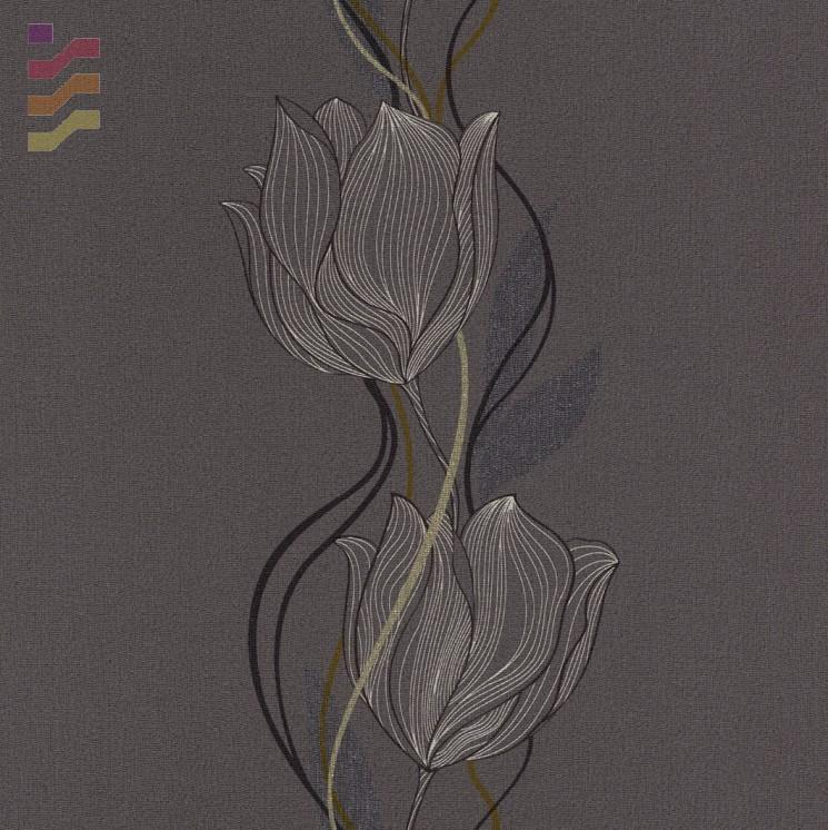 ciemna tapeta w kwiaty