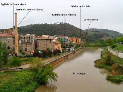 Vista aigües avall del Llobregat des del pont Vell