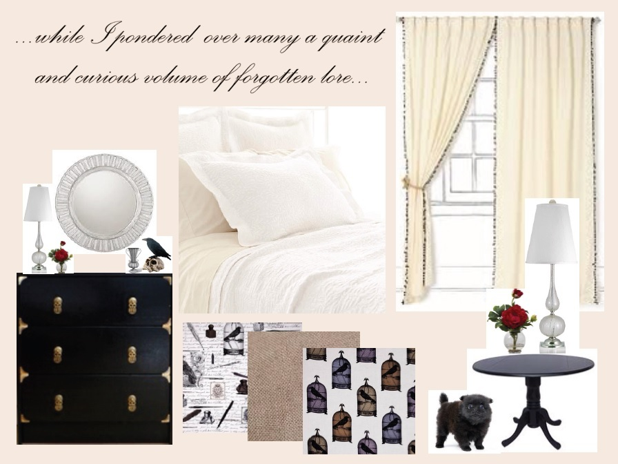 this time i want to create a restful room with soft colors and the occasional offbeat slightly gothic accessory that mightve been lifted from one of edgar black bedroom furniture hint