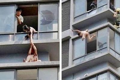 Wanita simpanan terjun bogel dari tingkat dua hotel