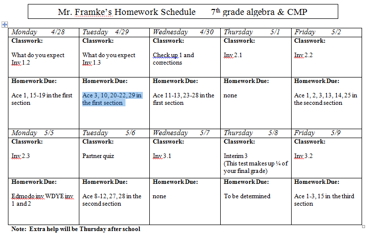 slavens 7th grade math  past homework assignment sheets