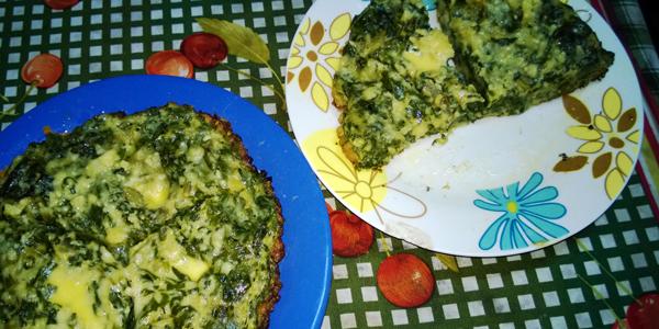 tortilla de acelga con queso parmesano