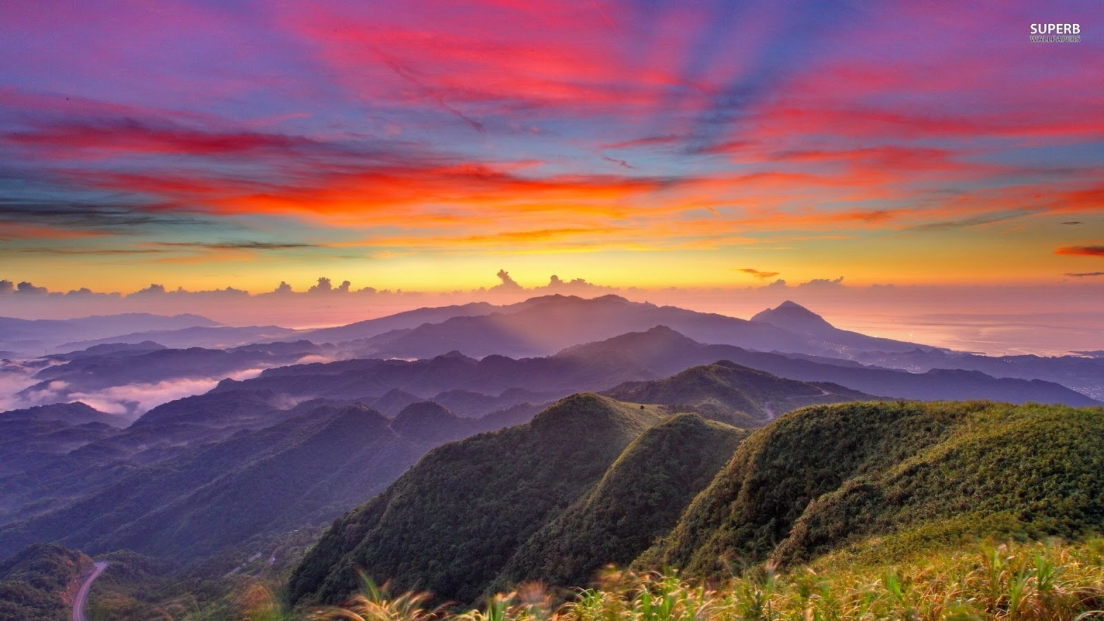 beautiful mountains sunrise wallpaper - photo #5