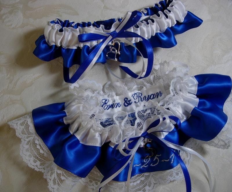 The Wedding Garter .com: Royal Blue & White Lace Wedding Garter Set
