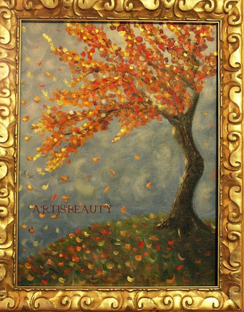 "alt=""Fall tree oil painting"""