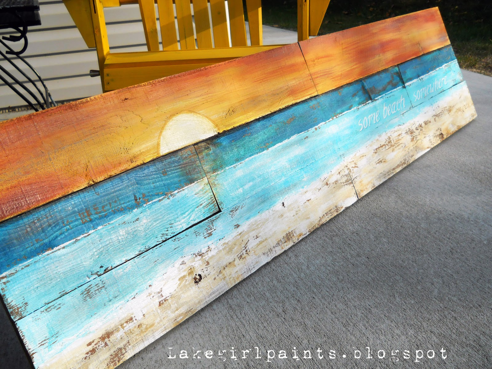 Lake girl paints sunset beach art from fence boards for Diy paint