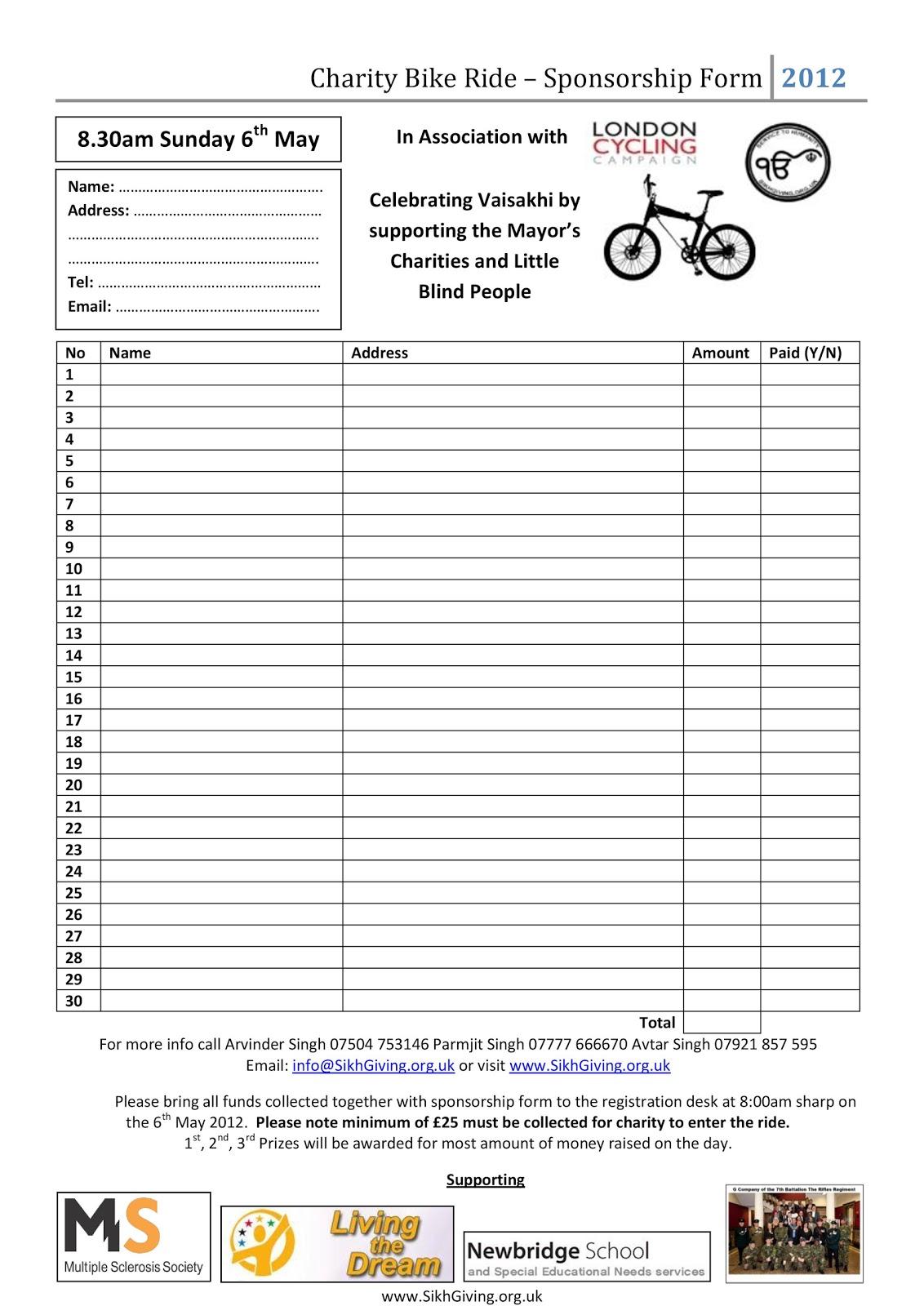 Blank sponsor form template