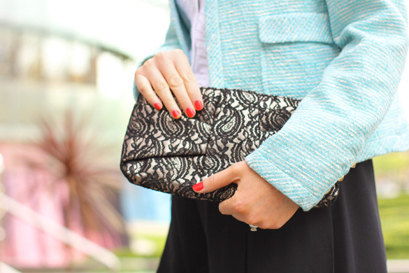 Forever New Lace Black Clutch