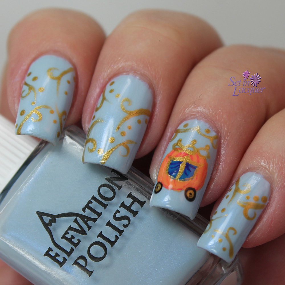 Cinderella Carriage nail art