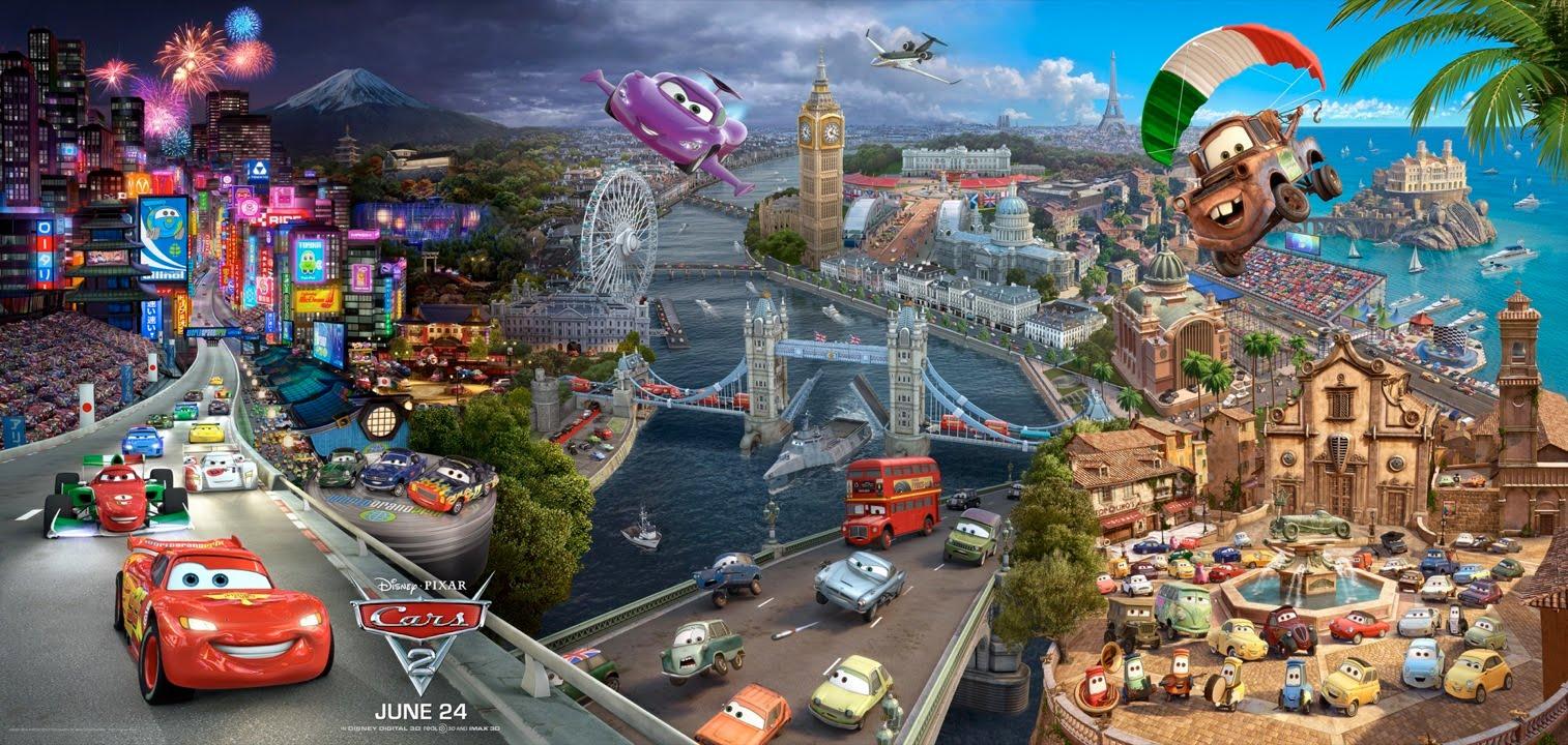 Nuevo poster tríptico de cars 2 con todos los personajes