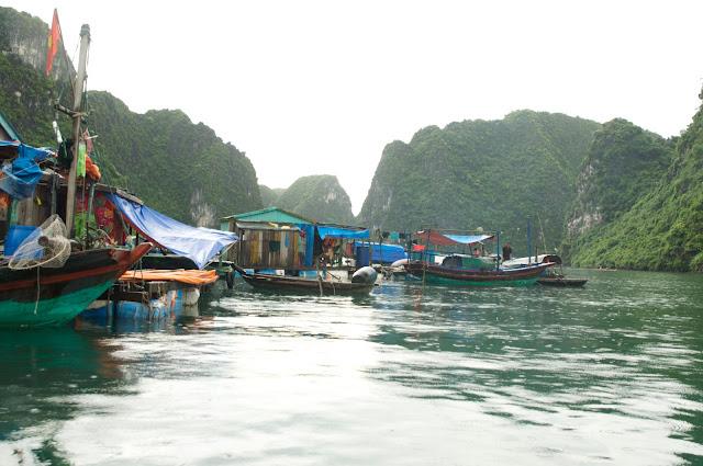 wisata, Ha Long Bay, Hanoi,Vietnam, desa nelayan Cua Van fishing village