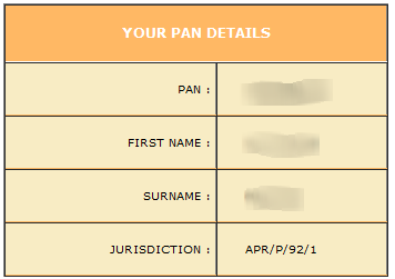 PAN details screen from government website.