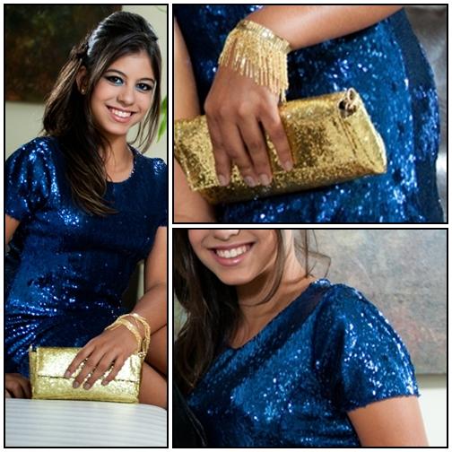 Acessorios para vestido de paete azul