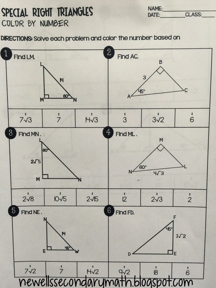 special right triangles color by number mrs newell 39 s math. Black Bedroom Furniture Sets. Home Design Ideas