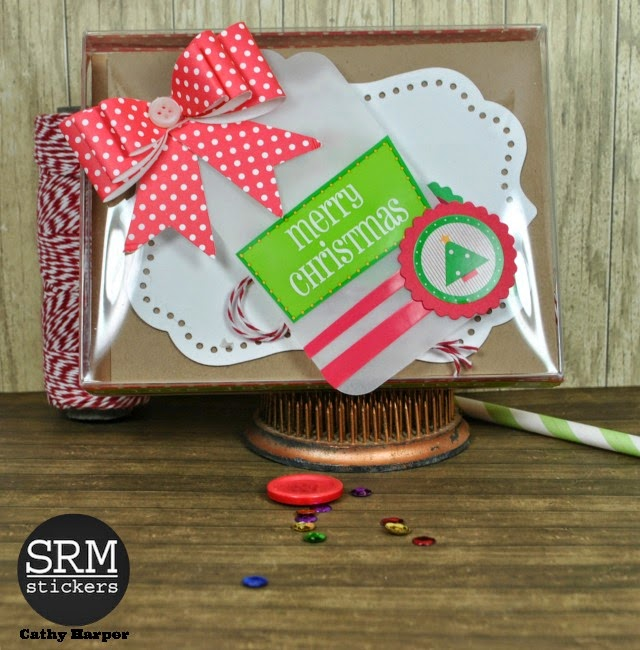 SRM Stickers Blog - A Christmas Card Gift by Cathy H. - #christmas #cardset #card #A2box #stickers #twine