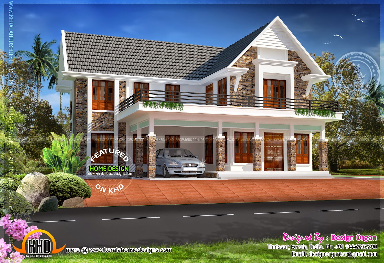 Nice villa design 347 square yards home kerala plans for Nice house design