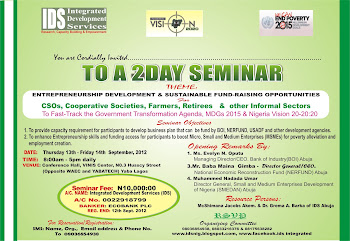 INVITATION TO THE LAGOS SEMINAR ON   ENTREPRENEURSHIP DEVELOPMENT AND SUSTAINABLE FUNDING
