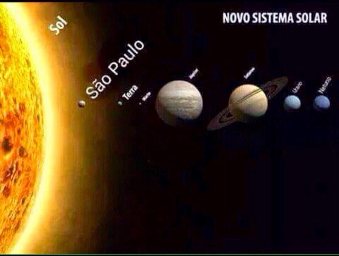 A charge em fundo escuro mostra na lateral esquerda parte do Sol em amarelo e alguns núcleos avermelhados na superfície com emissão de calor formando uma auréola no contorno, que desvanece aos poucos até o último tom de amarelo claro misturar-se com a escuridão do espaço. À direita, estão representados sete planetas alinhados do mais próximo ao mais distante do sol. Ainda na parte amarela do sol, aonde deveria estar representado o planeta Mercúrio, lê-se: São Paulo. Os outros seis planetas estão na escuridão: Terra; Marte; Júpiter; Saturno com seus anéis; Urano e Netuno. No topo à direita lê-se: Novo Sistema Solar.