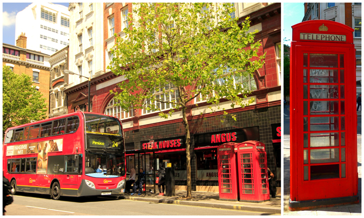 Red double-decker buses and red phone booths in London