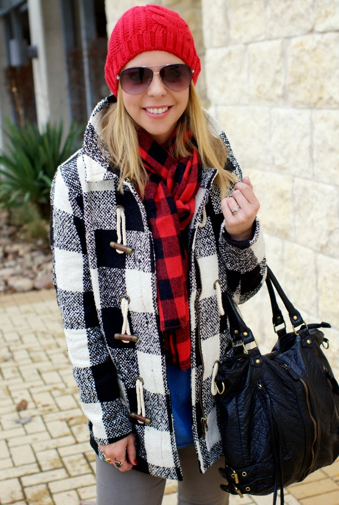 layering buffalo check plaid