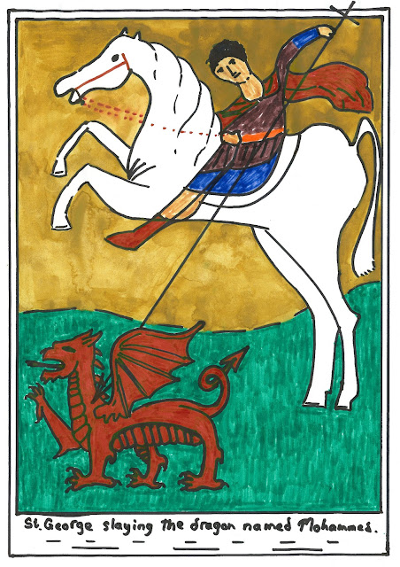 St George slaying the Dragon that is named Mohammed