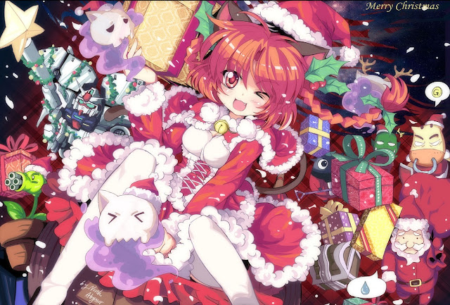 Santa Claus, Santa Claus costume, anime Christmas wallpaper