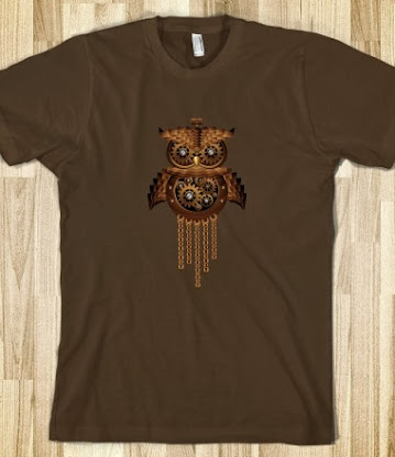 Steampunk Owl Vintage Style T-Shirt - on Skreened