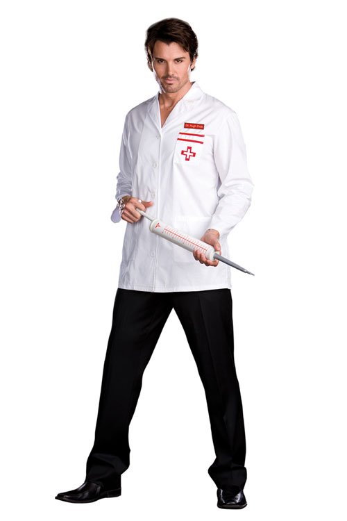 FASHION CARE 2U L1326 Sexy White Male Doctor Costume Top Long Sleeves