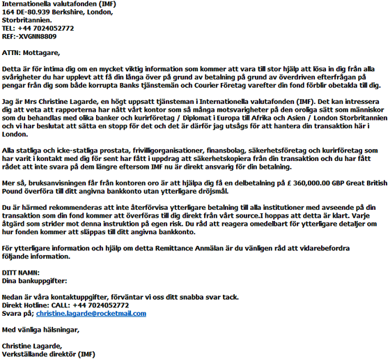 E-mail från Christine Lagarde ...