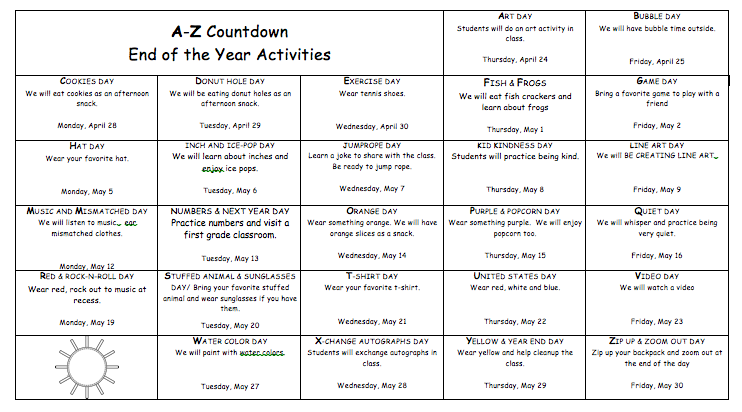 A-Z Countdown to summer vacation.  Free editable calendar