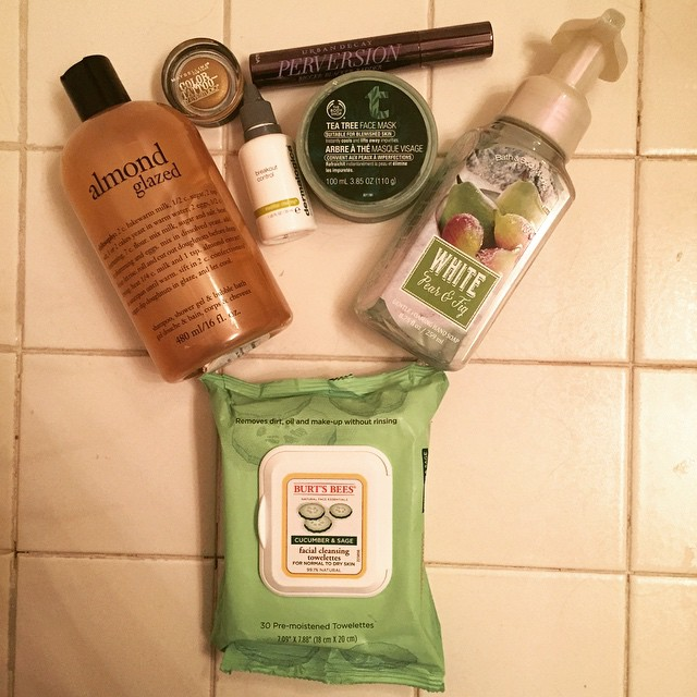 #JanuaryBeauty, Instagram photo challenge, beauty photo challenge, My Newest Addiction, beauty bloggers, December beauty product favorites, Philosophy Almond Glazed, Maybelline Color Tattoo eyeshadow, Urban Decay Perversion Mascara, Burt's Bees Cucumber & Sage Facial Cleansing Towelettes, The Body Shop Tea Tree Face Mask, Bath & Body Works White Pear & Fig Foaming Hand Soap, Dermalogica Breakout Control
