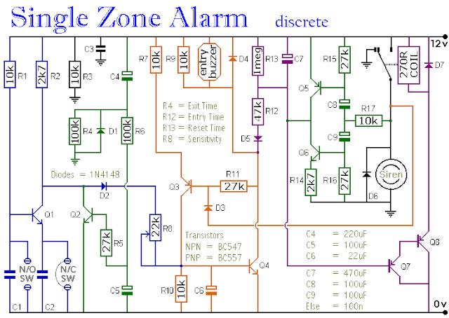 single zone alarm circuit diagram the circuit rh easycircuit012 blogspot com Electronic Circuit Diagrams Simple Schematic Diagrams Circuits