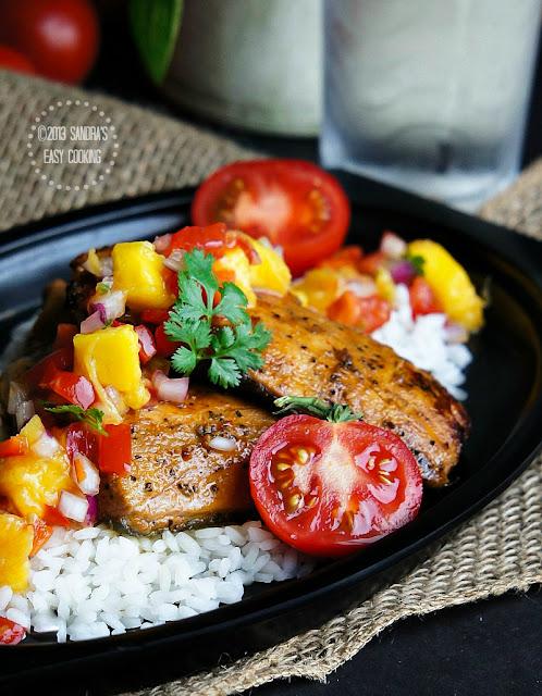 Grilled Glazed Wild Salmon with Mango Salsa