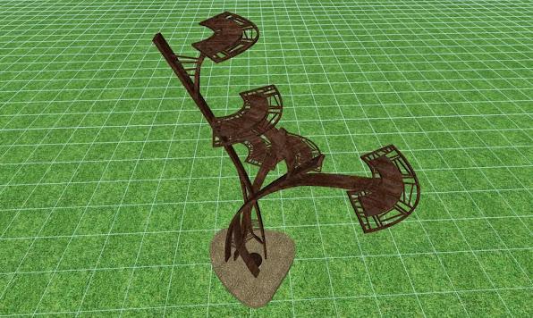 escultura metalica para un jardin de lujo, detalles de diseño 1