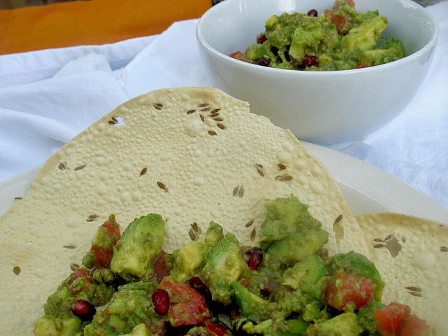 pappadums with avocado pomegranate dip