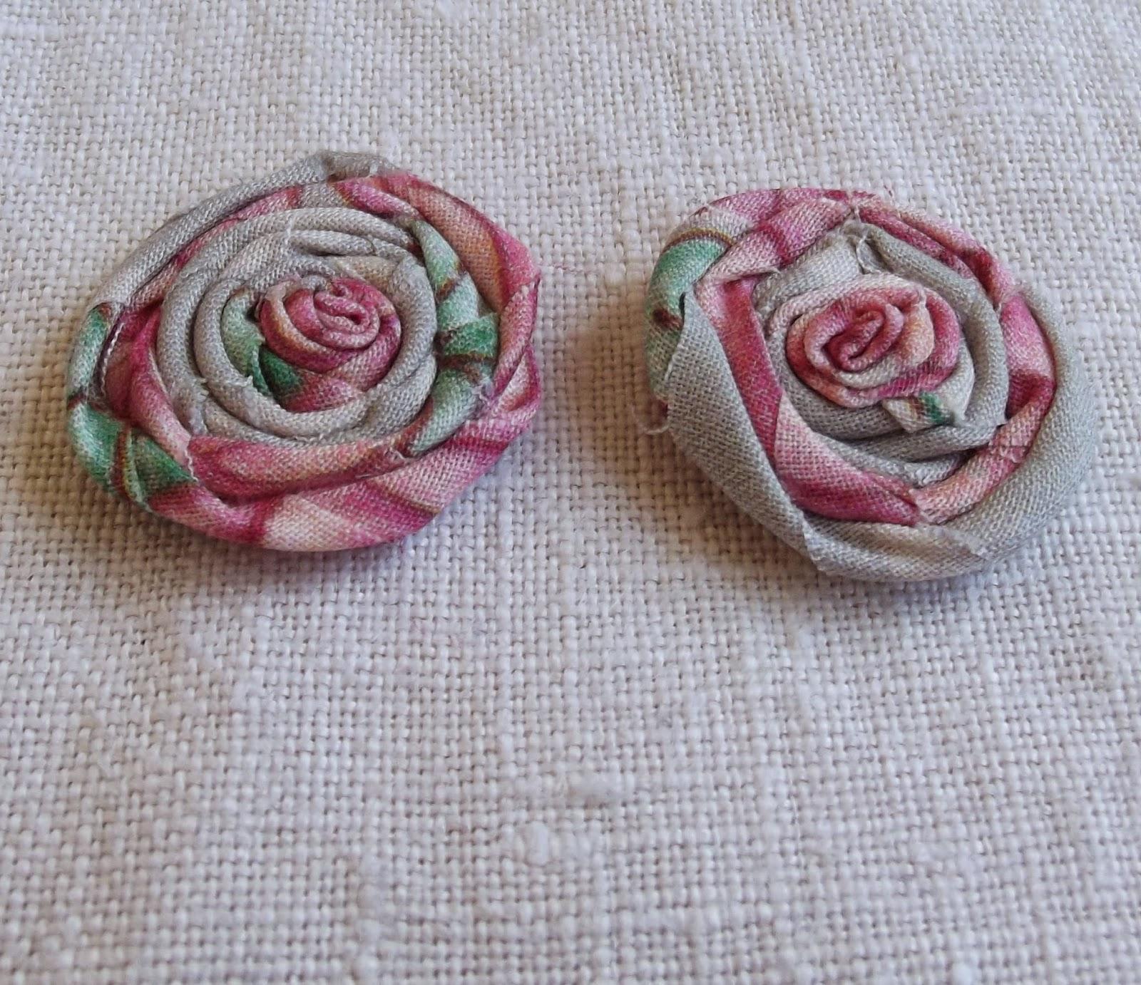 rag rolled rose stud earring tutorial step 7