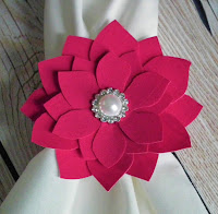 pretty new forever sweethearts teal pink magenta flower napkin ring