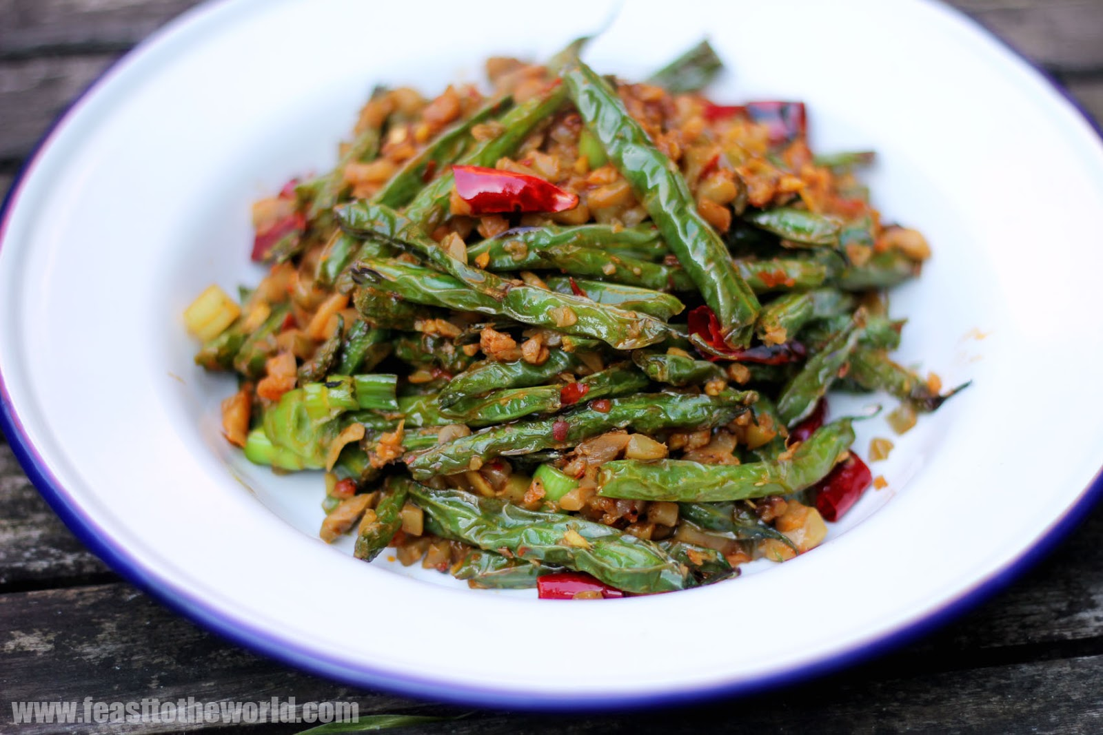 Sichuan Dry-Fried Long Beans Recipe — Dishmaps
