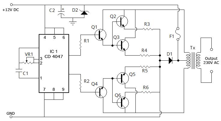 Инвертор 12 в 380 схема