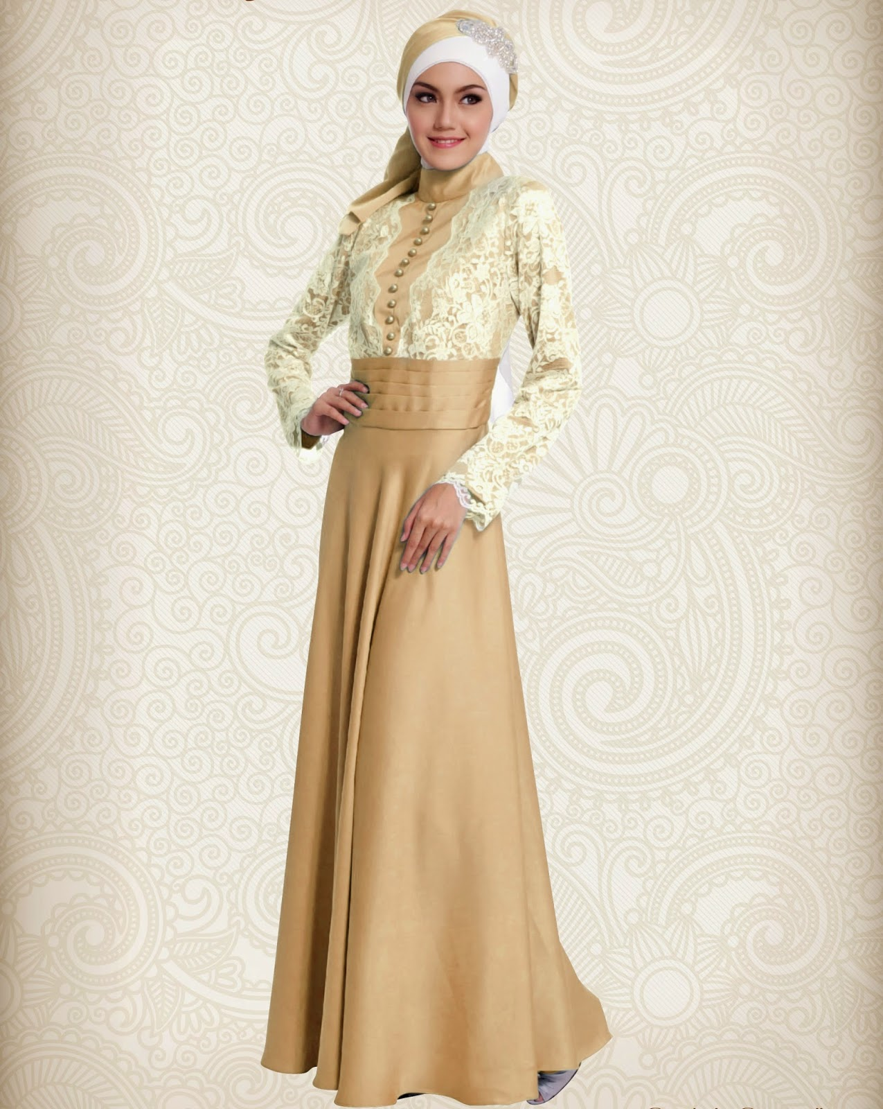 Model Gamis Pesta Mewah Warna Gold Cantik
