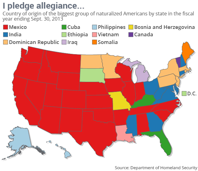 Country of origin of the biggest group of naturalized Americans by state