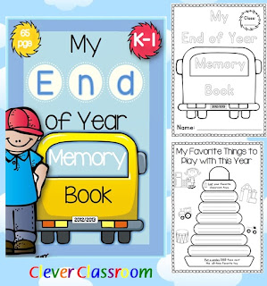 Image of End of the Year Memory Book K-1 Writing PDF Clever Classroom