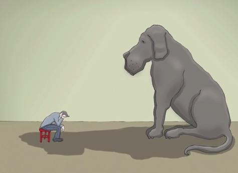 Um cachorro preto chamado depressão