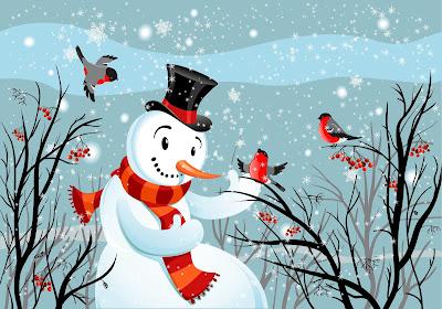 Muñecos de nieve en postales navideñas