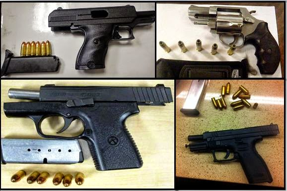 Guns Discovered at (L-R /T-B) MEM, ROC, CLT, and SJC