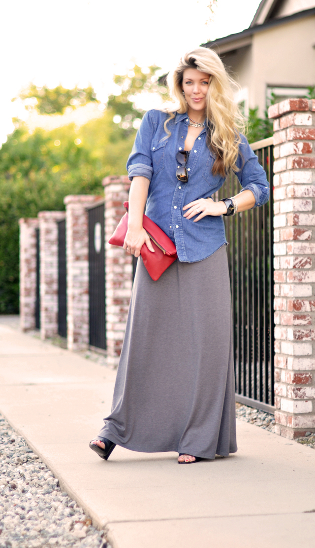 vintage denim shirt with maxi dres