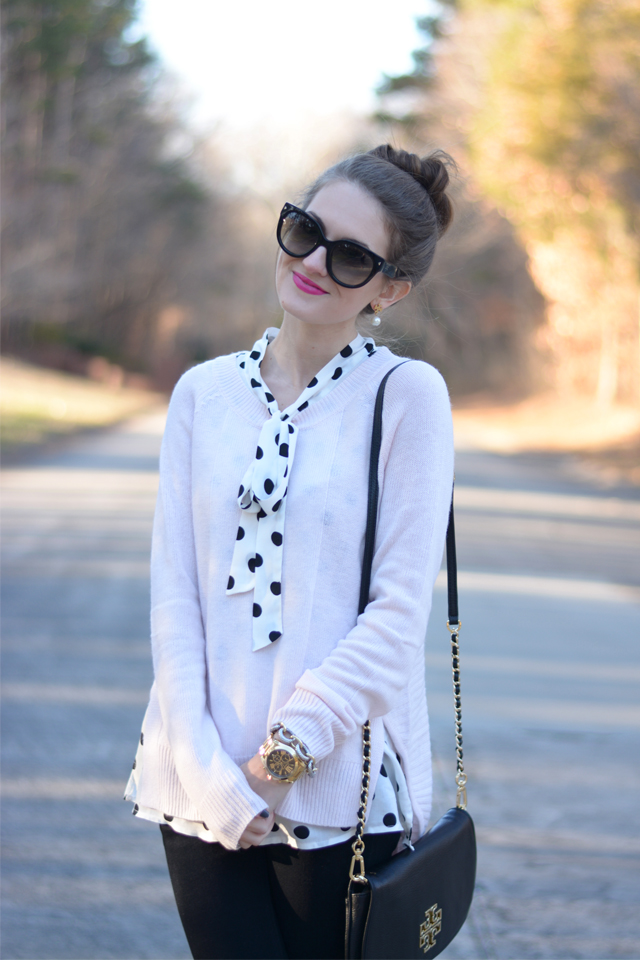 Love the polka dots layered under the pink sweater