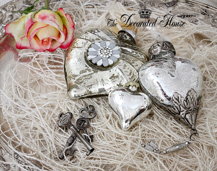 The Decorated House ~ Valentine's Day Decorating with Mercury Glass, Antique Keys and a Rose